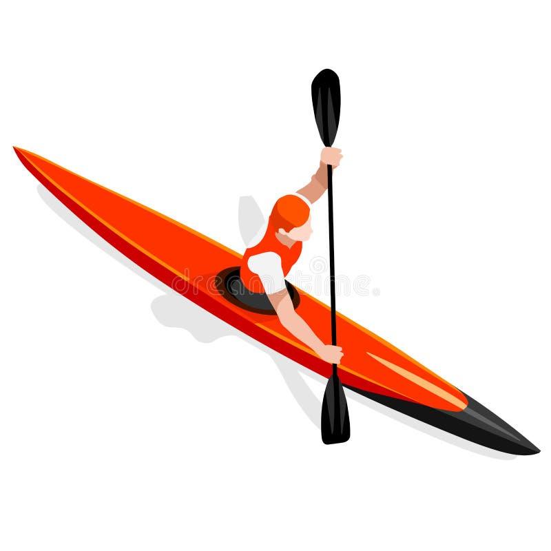 Grupo do ícone dos jogos do verão da sprint do caiaque Paddler isométrico da canoísta 3D Raça ostentando da competição do caiaque ilustração do vetor