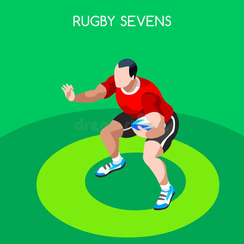 Grupo do ícone dos jogos do verão de Sevens do rugby atleta isométrico do jogador 3D ilustração royalty free
