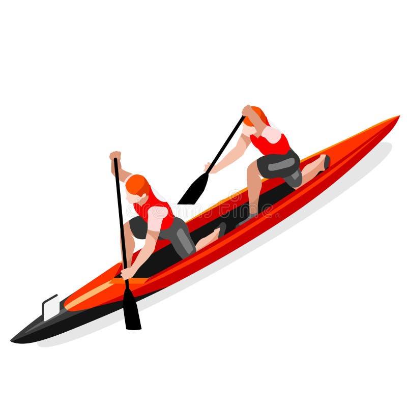 Grupo do ícone dos jogos do verão do dobro da sprint da canoa Paddler isométrico da canoísta 3D ilustração do vetor