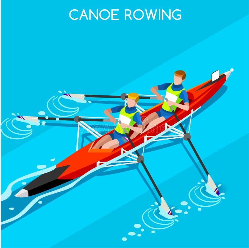Grupo do ícone dos jogos do verão do enfileiramento da sprint da canoa Paddler isométrico da canoísta 3D Raça ostentando da compe ilustração do vetor