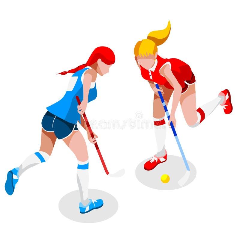 Grupo do ícone dos jogos do verão do jogador da menina do hóquei em campo hóquei em campo 3D isométrico Olympics que ostentam o c ilustração stock