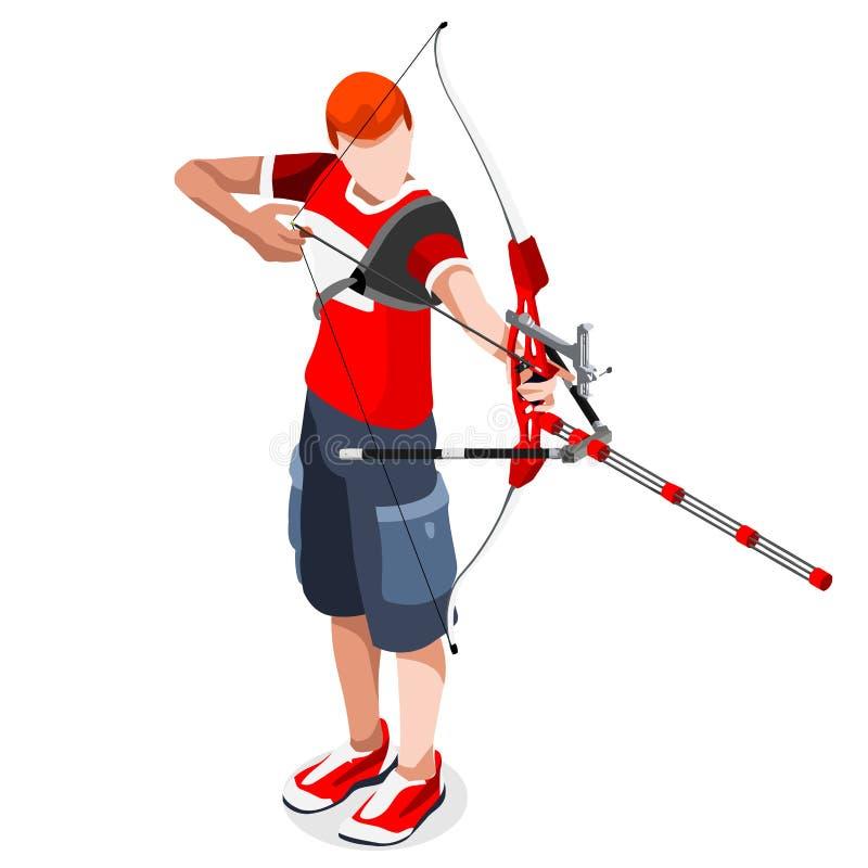 Grupo do ícone dos jogos do verão do jogador do tiro ao arco jogador isométrico do tiro ao arco 3D ilustração stock