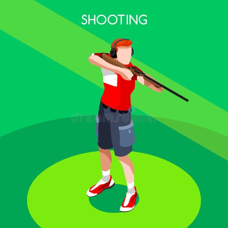 Grupo do ícone dos jogos do verão do jogador do tiro atleta isométrico do atirador 3D Competição internacional ostentando do tiro ilustração stock