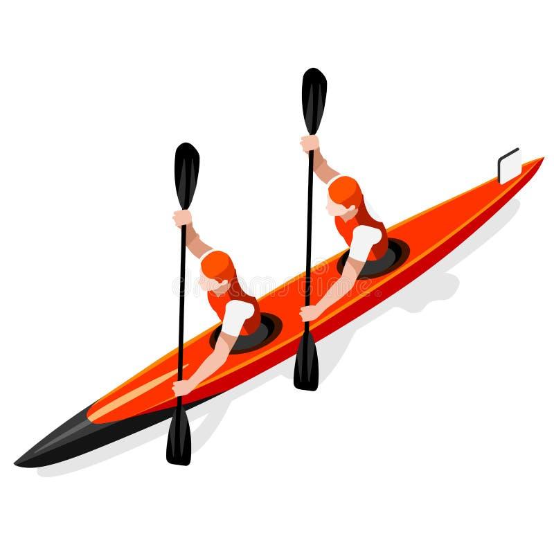 Grupo do ícone dos jogos do verão dos dobros da sprint do caiaque Paddler isométrico da canoísta 3D Raça ostentando da competição ilustração royalty free