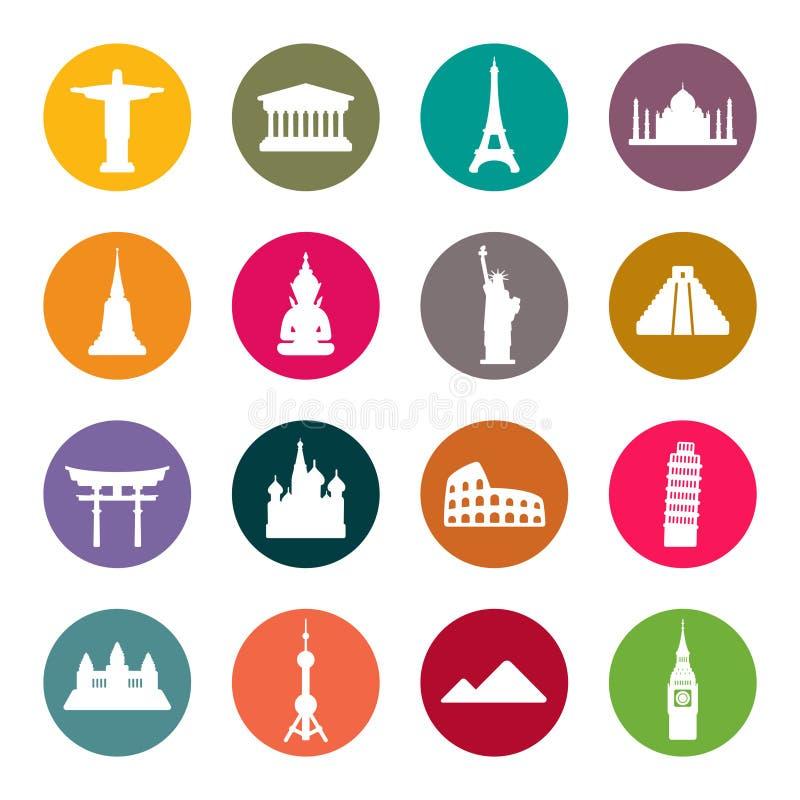 Grupo do ícone dos marcos do curso. Cor ilustração stock