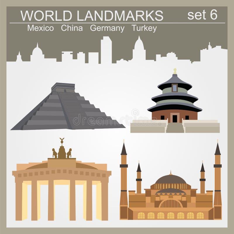 Grupo do ícone dos marcos do mundo Elementos para criar o infographics ilustração do vetor