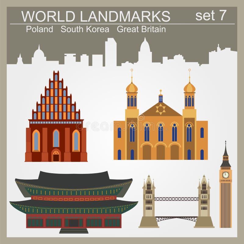 Grupo do ícone dos marcos do mundo Elementos para criar o infographics ilustração royalty free