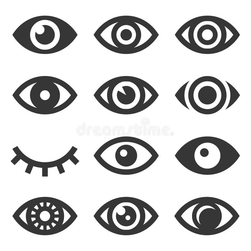 Grupo do ícone dos olhos ilustração stock