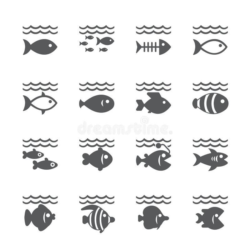Grupo do ícone dos peixes ilustração royalty free