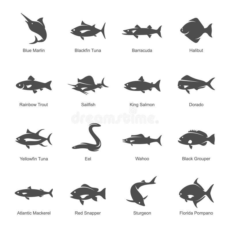Grupo do ícone dos peixes ilustração stock