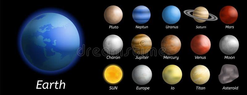 Grupo do ícone dos planetas da galáxia, estilo realístico ilustração stock