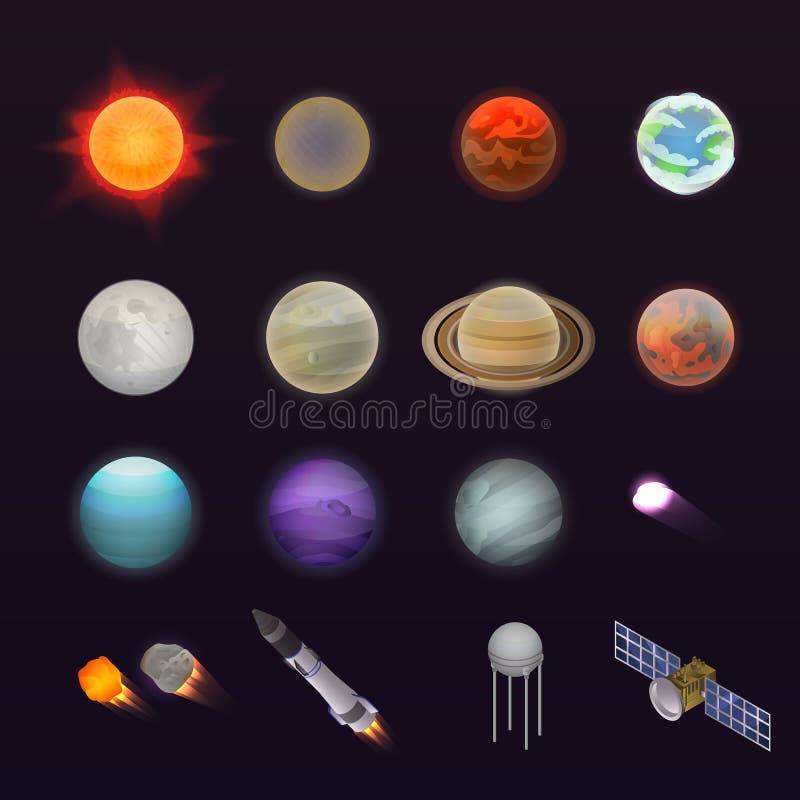 Grupo do ícone dos planetas, estilo isométrico ilustração do vetor