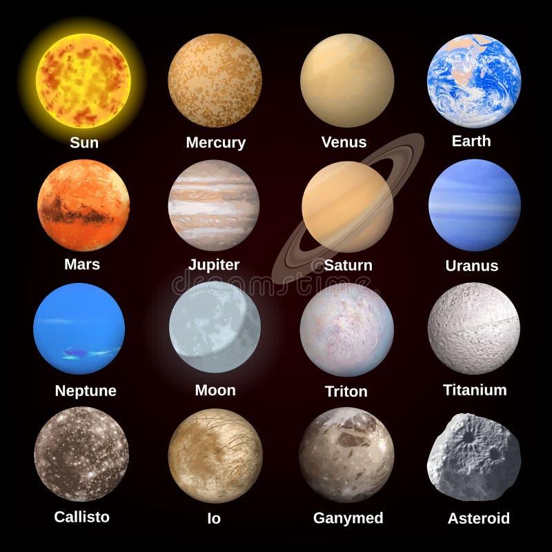 Grupo do ícone dos planetas, estilo realístico ilustração do vetor