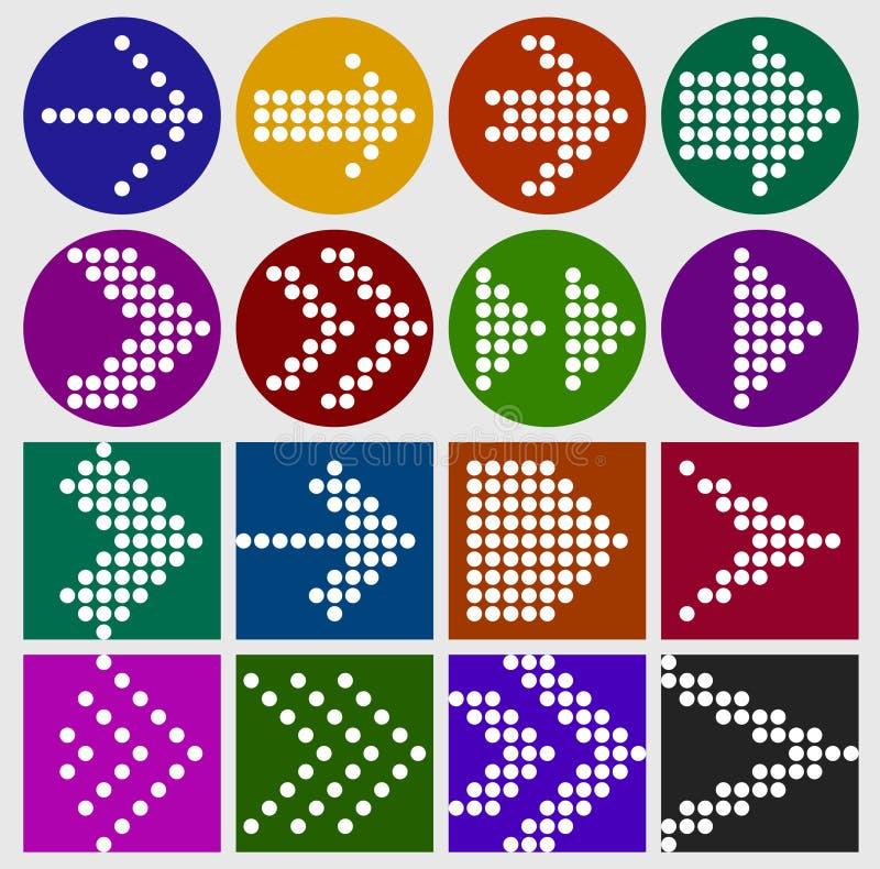 Grupo do ícone dos pontos do sinal da seta ilustração stock