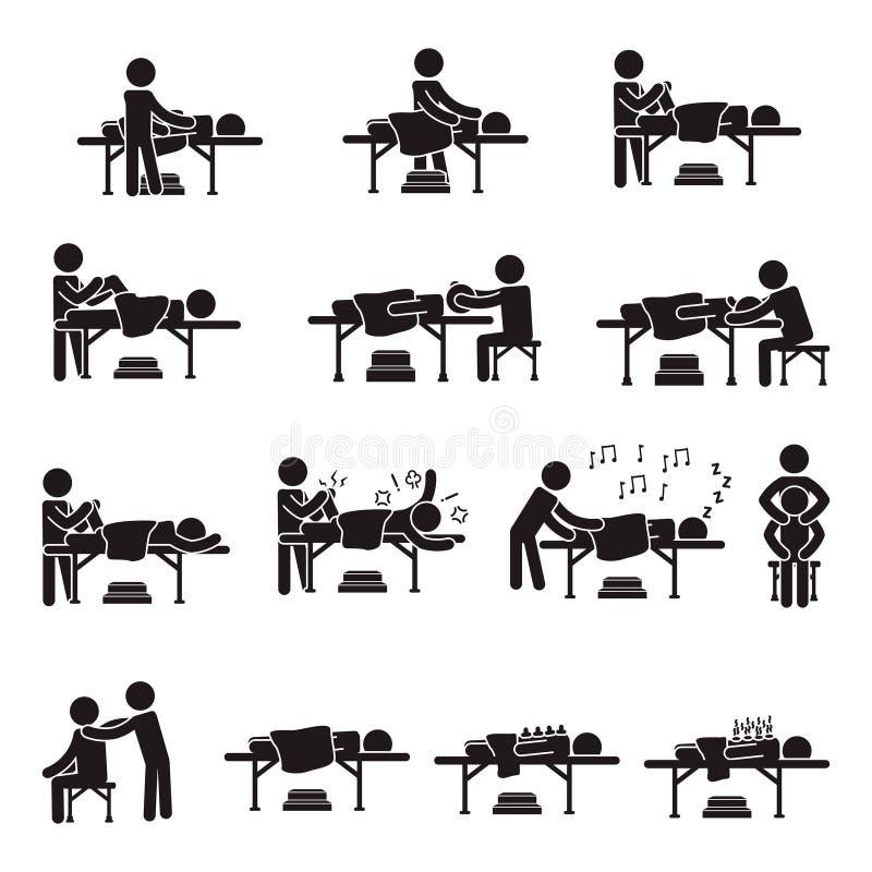 Grupo do ícone dos povos da massagem Vetor ilustração royalty free