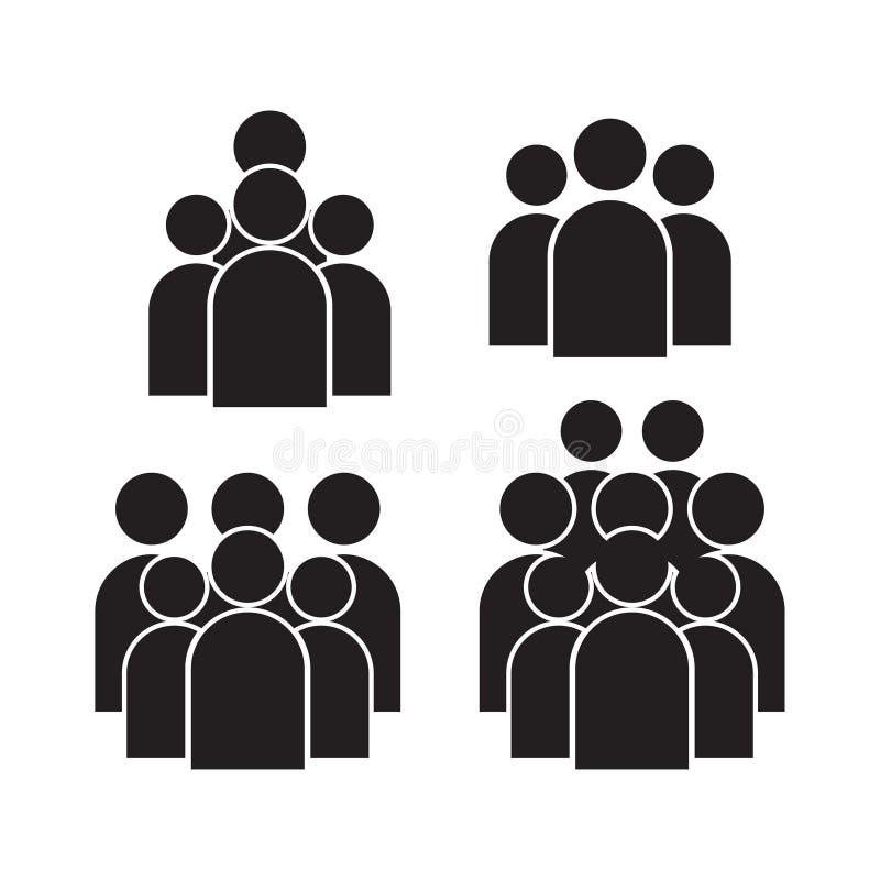 Grupo do ícone dos povos no estilo liso na moda isolado no fundo Sinais da multidão Símbolo para seu projeto da site do infograph ilustração stock