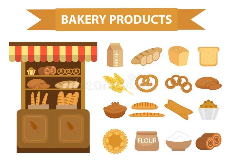 Grupo do ícone dos produtos da padaria, estilo liso do pão diferente e da pastelaria isolados no fundo branco Farinha baking ilustração stock