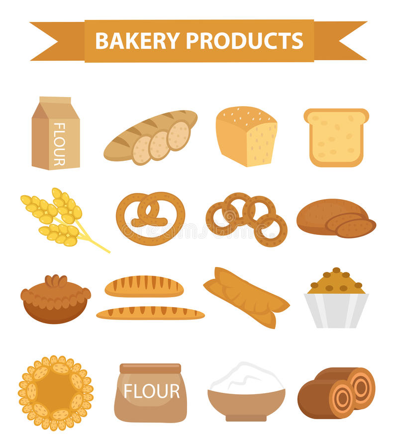 Grupo do ícone dos produtos da padaria, estilo liso do pão diferente e da pastelaria isolados no fundo branco Farinha loaf ilustração stock