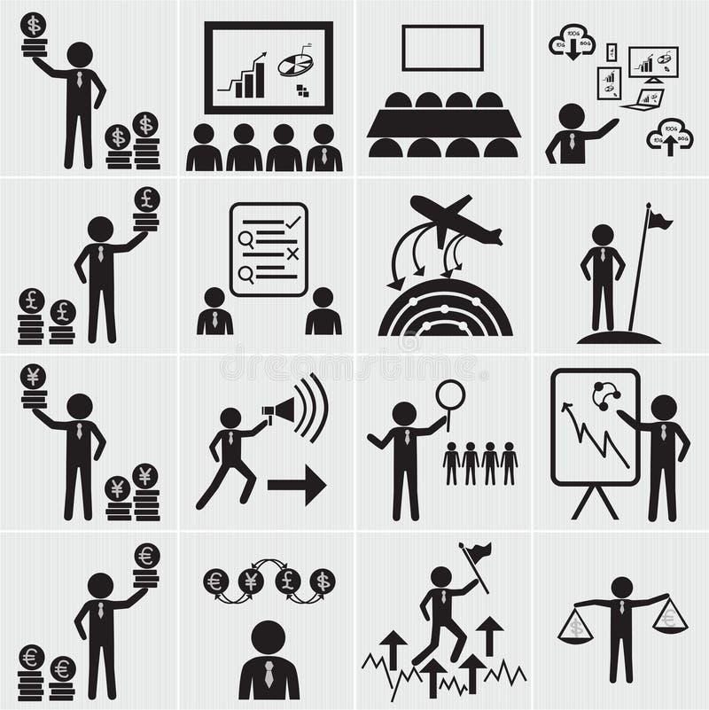 Grupo do ícone dos recursos humanos, do negócio e da gestão ilustração royalty free