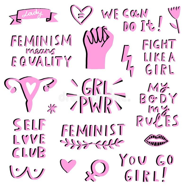 Grupo do ícone dos símbolos do feminismo do vetor Movimento de Femenist ilustração royalty free
