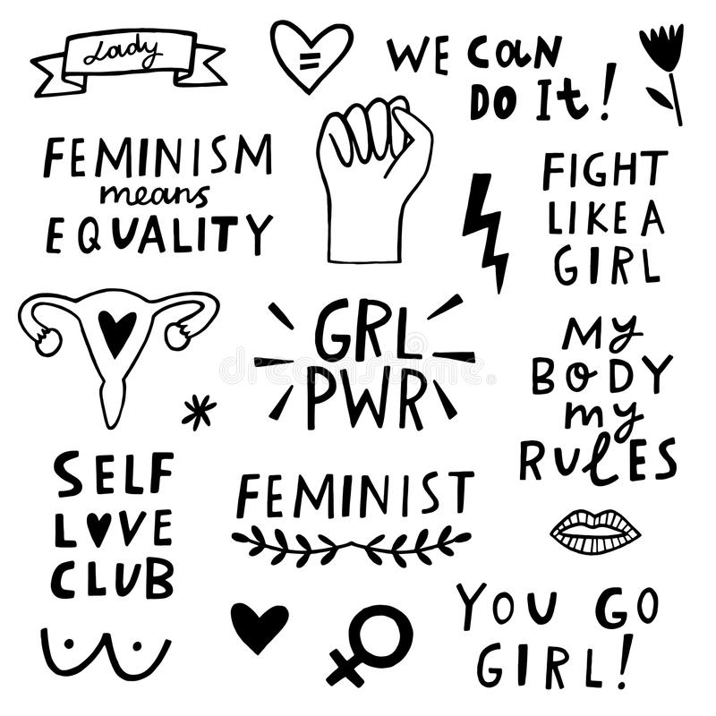 Grupo do ícone dos símbolos do feminismo do vetor Movimento de Femenist ilustração do vetor