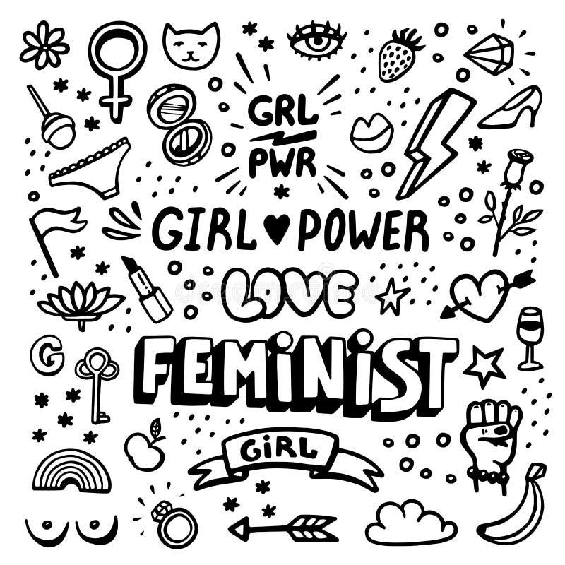 Grupo do ícone dos símbolos do feminismo Movimento feminista, protesto, poder da menina Ilustração preto e branco do vetor ilustração royalty free
