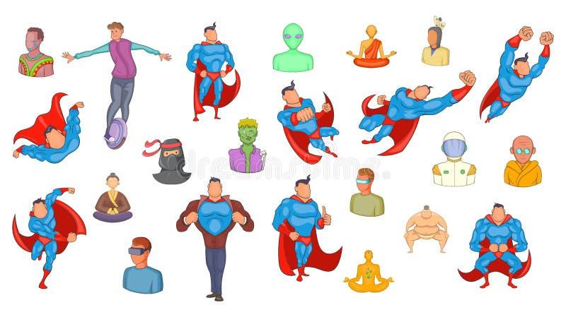 Grupo do ícone dos super-herói, estilo dos desenhos animados ilustração royalty free