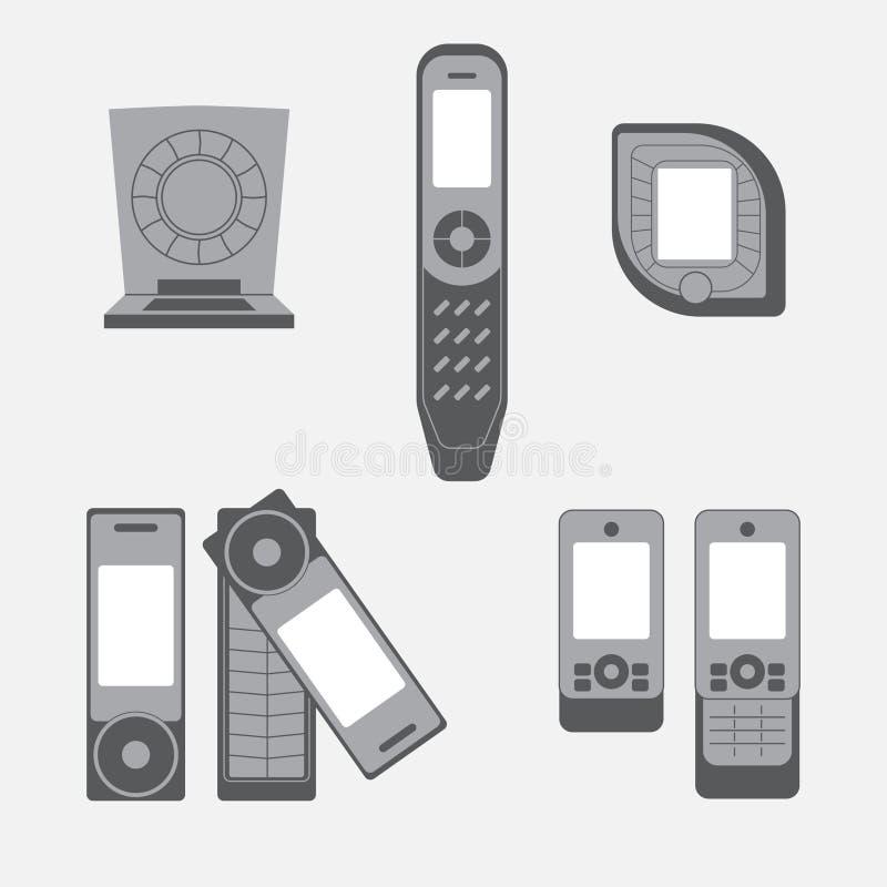 Grupo do ícone dos telefones celulares do vintage ilustração royalty free