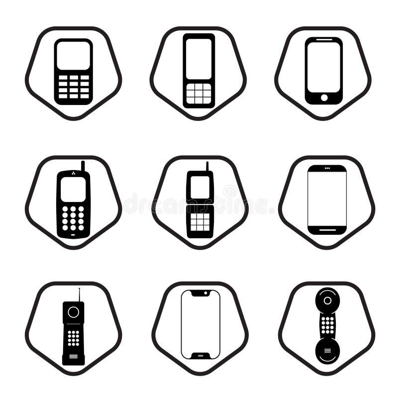 Grupo do ícone dos telefones celulares - nove telefones celulares do escritório ilustração do vetor
