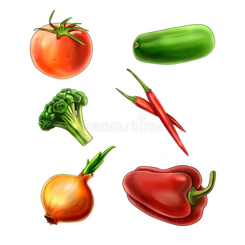 Grupo do ícone dos vegetais ilustração do vetor