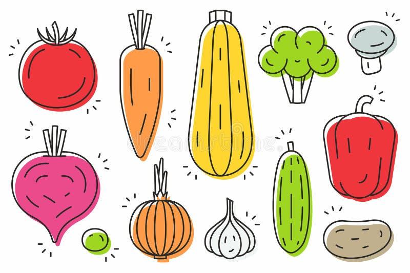 Grupo do ícone dos vegetais ilustração stock