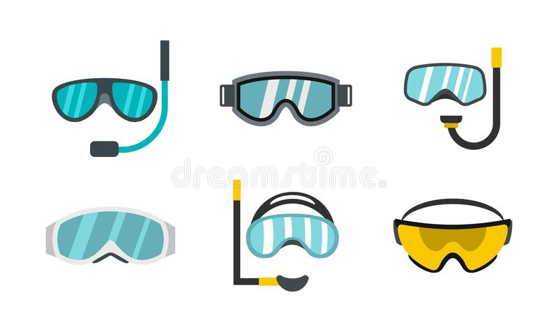 Grupo do ícone dos vidros do esporte, estilo liso ilustração stock