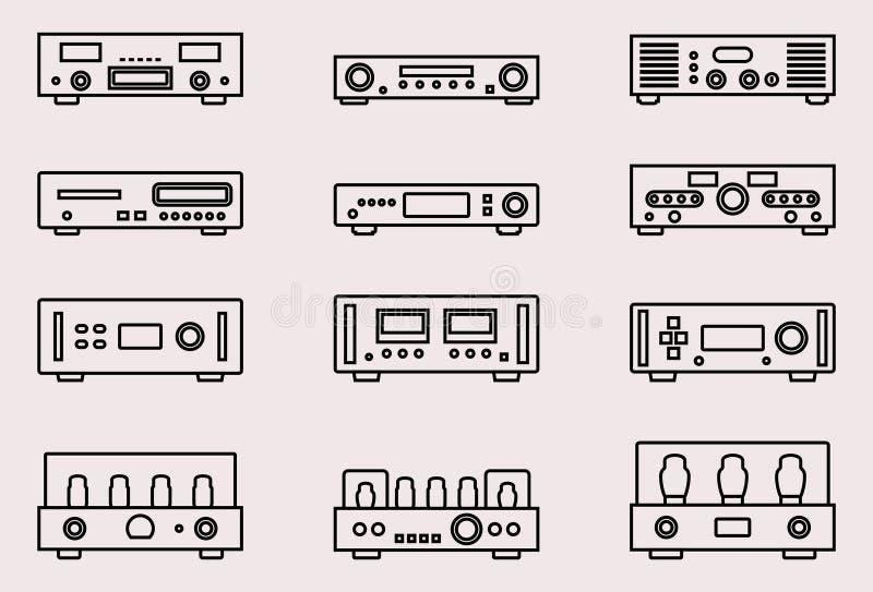 Grupo do ícone do equipamento audio O vetor dilui a linha Amplificador e leitor de cd ilustração royalty free
