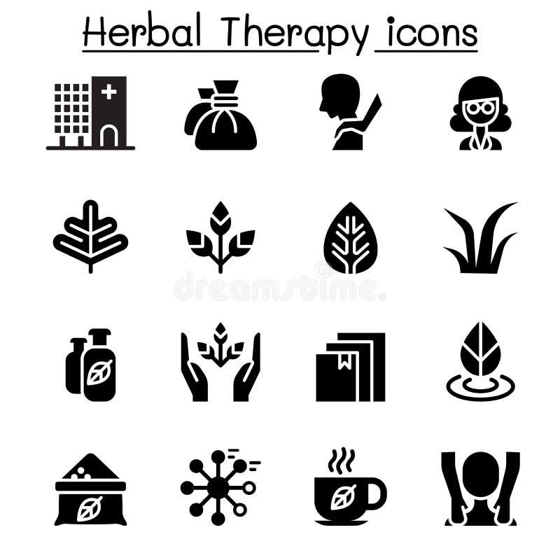 Grupo do ícone erval da terapia & dos termas ilustração stock
