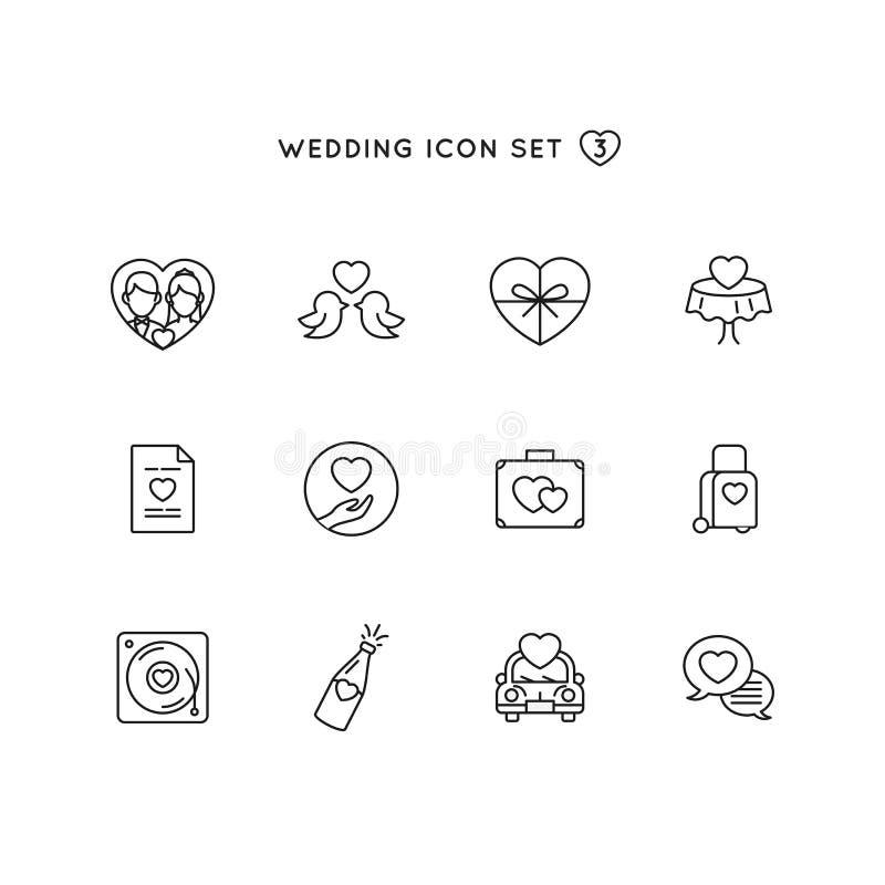 Grupo do ícone do esboço do casamento objeto da ilustração da união com coleção do símbolo do amor ilustração stock