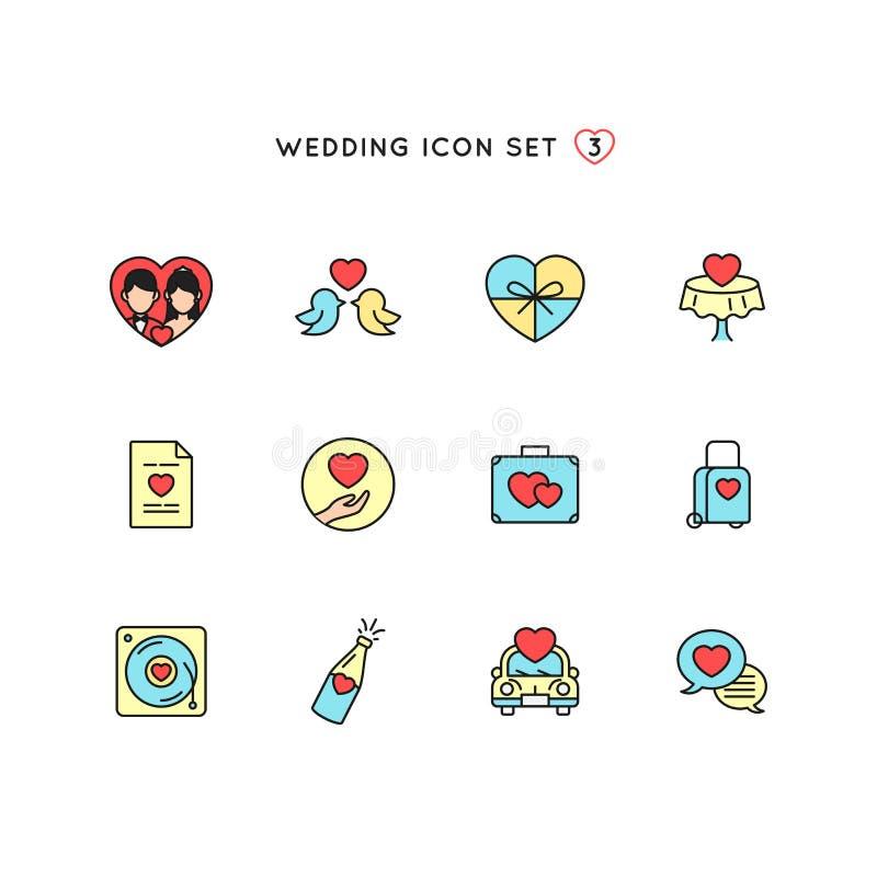 Grupo do ícone do esboço do casamento objeto liso da cor da ilustração da união com coleção do símbolo do amor projeto do monolin ilustração do vetor