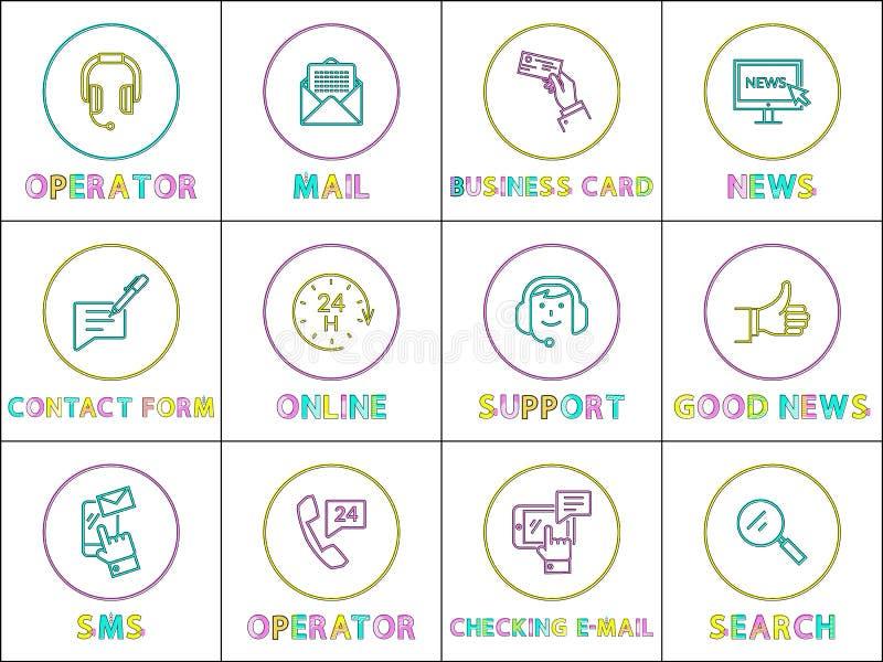 Grupo do ícone do esboço da cor do serviço de apoio ao cliente ilustração do vetor