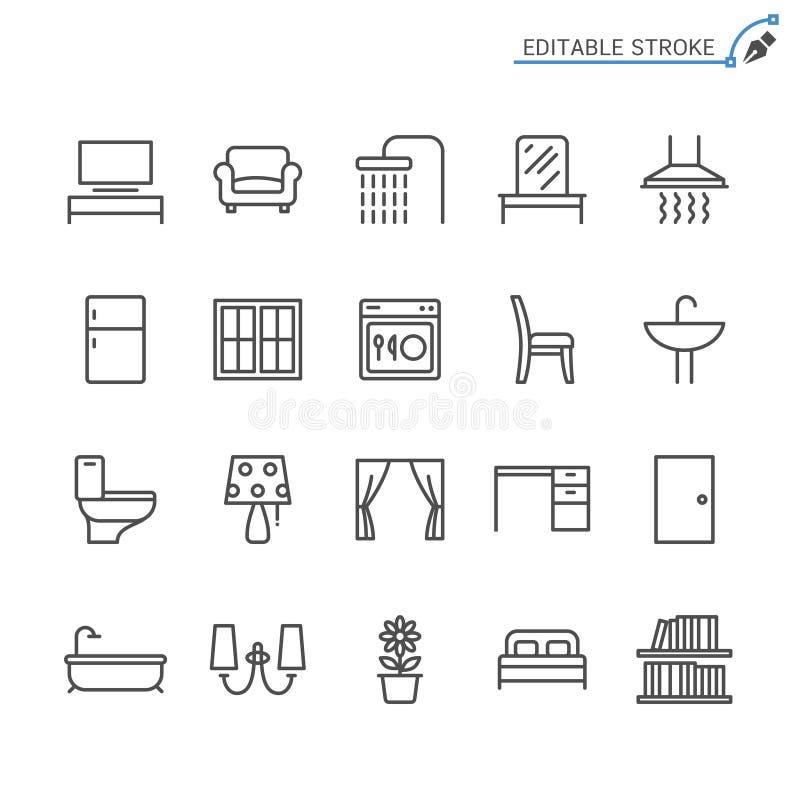 Grupo do ícone do esboço da mobília da casa ilustração stock