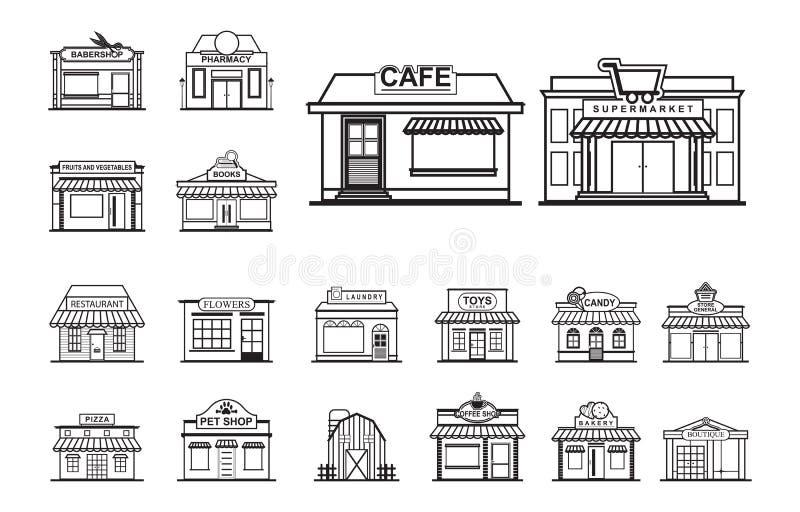 Grupo do ícone do estilo de Front View Line Art Outline da loja da loja da fachada ilustração do vetor