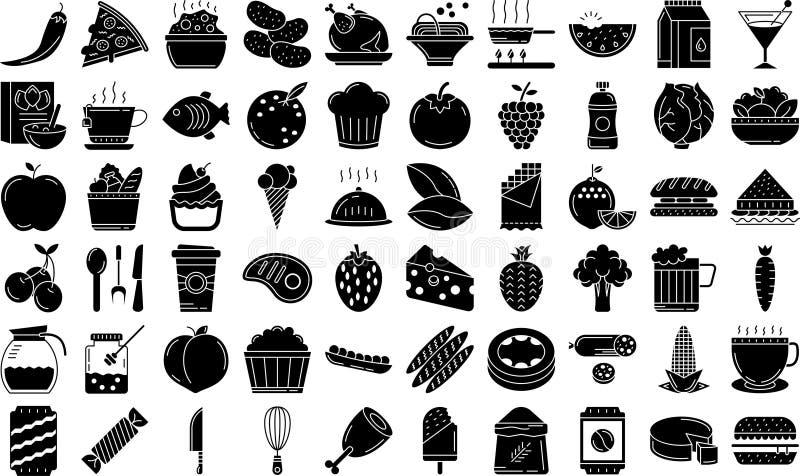 Grupo do ícone do estilo do Glyph do alimento fotografia de stock