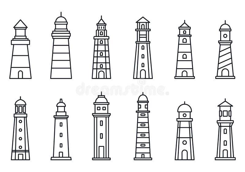 Grupo do ícone do farol do mar, estilo do esboço ilustração stock