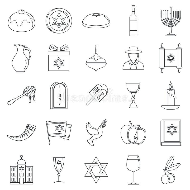 Grupo do ícone do feriado do Hanukkah, estilo do esboço ilustração royalty free