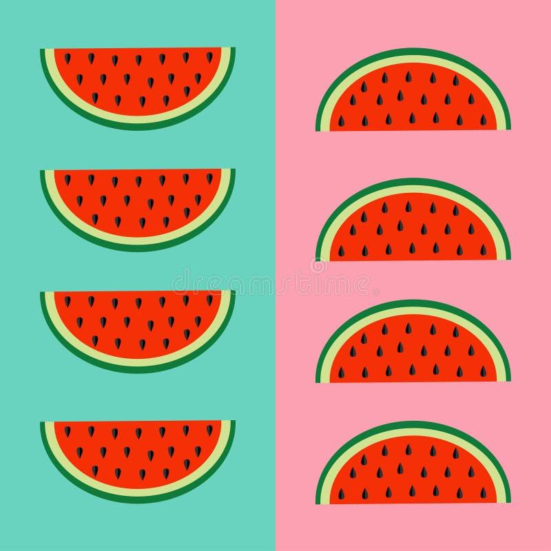 Grupo do ícone do fruto da melancia Fatia vermelha com sementes em seguido Corte a metade Alimento saudável do estilo de vida Pro ilustração royalty free