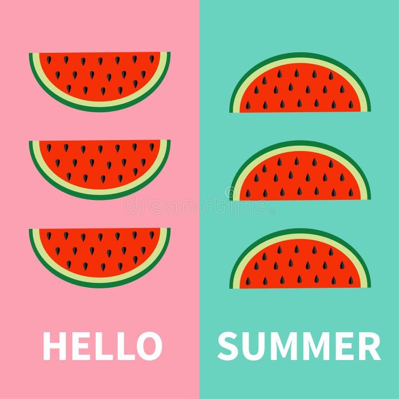 Grupo do ícone do fruto da melancia Fatia vermelha com sementes em seguido Olá! verão Corte a metade Alimento saudável Projeto li ilustração stock