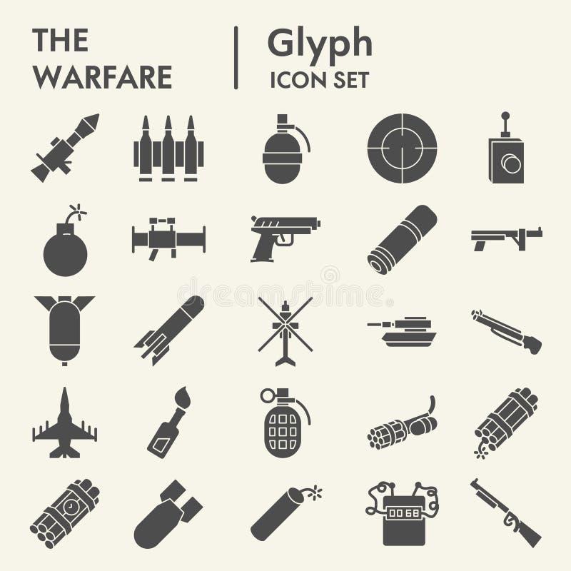 Grupo do ícone do glyph da guerra, símbolos coleção da arma, esboços do vetor, ilustrações do logotipo, pictograma contínuos dos  ilustração do vetor