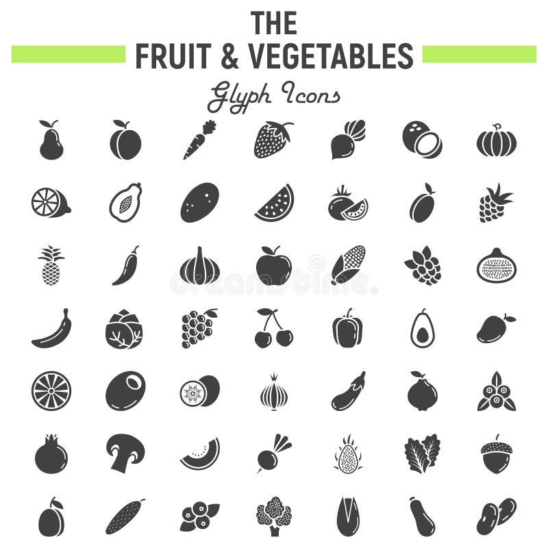 Grupo do ícone do glyph das frutas e legumes, símbolos do alimento ilustração do vetor