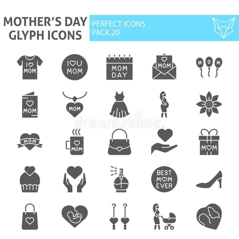 Grupo do ícone do glyph do dia de mães, símbolos coleção da maternidade, esboços do vetor, ilustrações do logotipo, sólido dos si ilustração stock