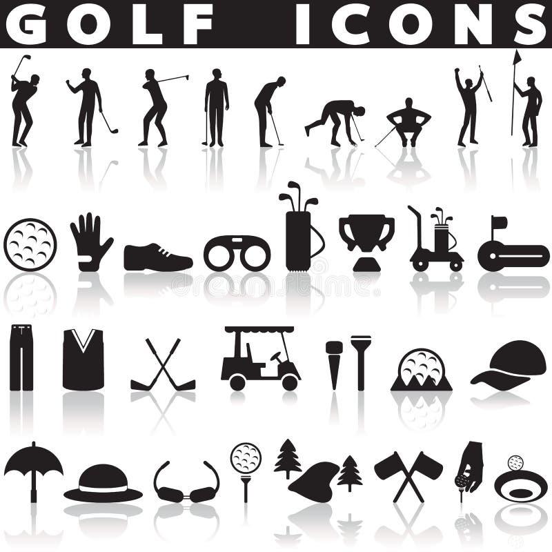Grupo do ícone do golfe ilustração stock