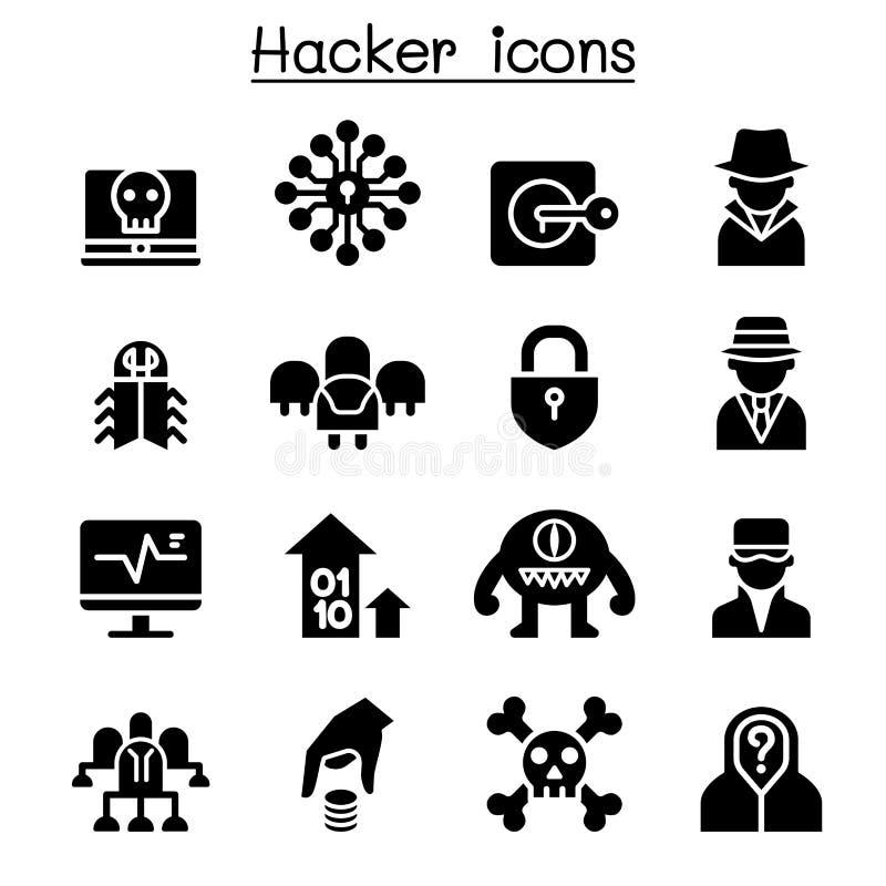 Grupo do ícone do hacker ilustração do vetor