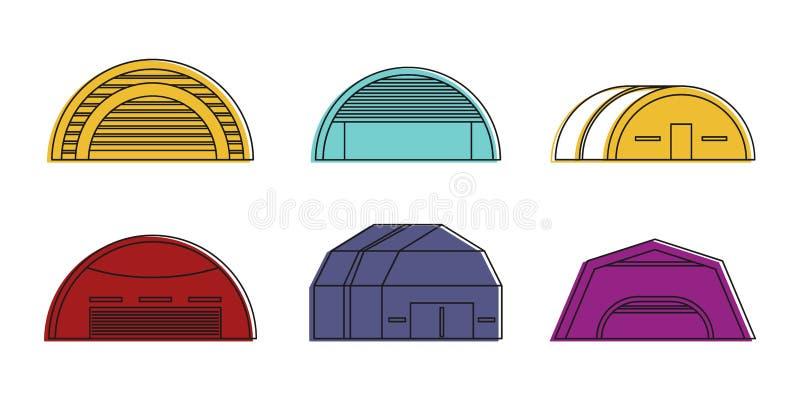 Grupo do ícone do hangar, estilo do esboço da cor ilustração do vetor